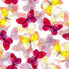 Seamless spring wallpaper with colorful watercolor drawing of red and yellow butterflies