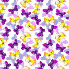 Seamless festive background with bright aquarelle painted butterflies