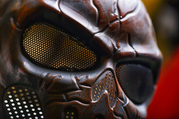 Steel mask covered with rust closeup