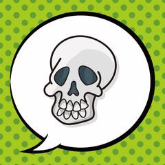 skull doodle, speech bubble
