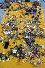 Various imitation jewelry at flea market