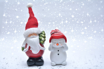 Santa and snowman on the white background