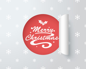 Merry Christmas Logo In Paper Cut Out Label 2