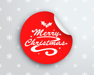 Merry Christmas Logo On Red Circle Sticker