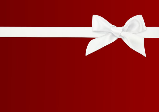 white ribbon on red background