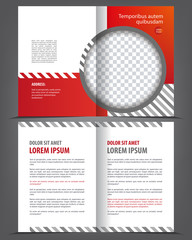 Vector empty bi-fold brochure print template red design, booklet layout