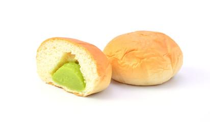 custard bread on white background