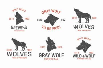 Set of vintage wolf logo and label design elements