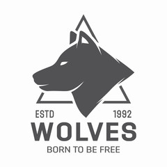 Vintage wolf logo or label