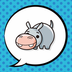 animal hippo doodle, speech bubble
