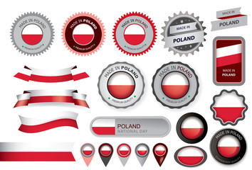 Made in Poland Seal, Polish Flag (Vector Art)