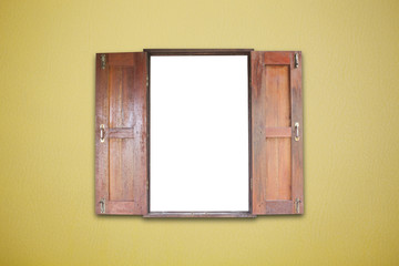 Old wooden windows frame on Abstract Empty  leather