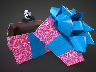 panda animail character gift box surprise holidays standing on dark background isolated download buy picture digital illustration