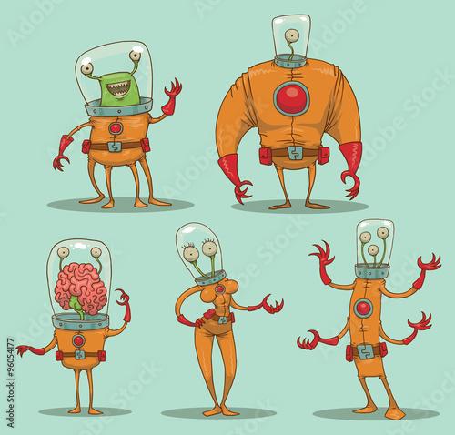 Vector Set Of Funny Aliens Cartoon Image Five Different In Orange Spacesuits