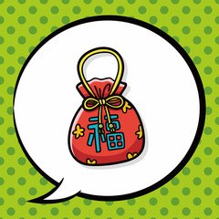 Chinese talisman doodle, speech bubble