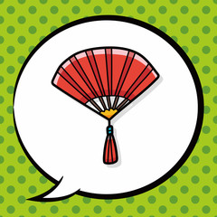 Chinese New Year Folding fan doodle, speech bubble