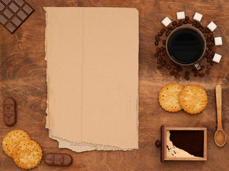 coffee and biscuits, sugar, frame for text
