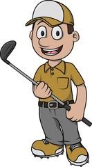 Golf player cartoon design