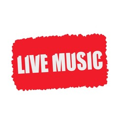 Live music white stamp text on blood drops red Background