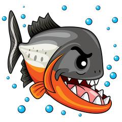 Piranha Cartoon Illustration of cute cartoon piranha.