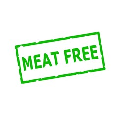 meat free Green stamp text on Rectangular white background