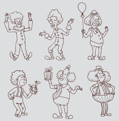 Vector Set of line happy funny clowns. Cartoon line image of six happy funny clown in different clothes and poses on a light background.