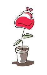 Vector illustration of money plant, flower in pot