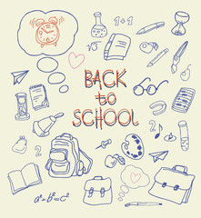 Back to school doodles in bright background. Vector  hand drawing icons. Linear illustration.