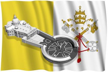 Wall Mural - Citta vaticano_003 Piazza San Pietro con sullo sfondo la bandiera della Città del Vaticano.