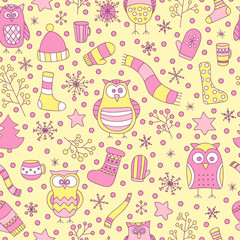 Christmas seamless pattern. Vector hand drawn winter elements. Fun doodle background for kids. Snowflake, owl, christmas tree, mittens, socks. On gyellow background.