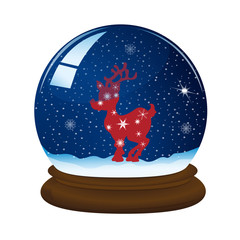 magic snow ball with stand, snowflakes and Christmas deer, vector illustration