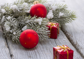Christmas toys over wooden background