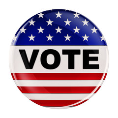 USA vote button with clipping path over white background