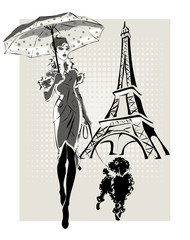 Wall Mural - illustration Fashion woman near Eiffel Tower with little dog