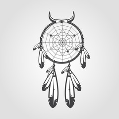 Indian Dream catcher isolated on white background. Vector illustration for your artwork, tattoo, posters, badges.