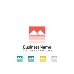 mountain nature logo icon vector