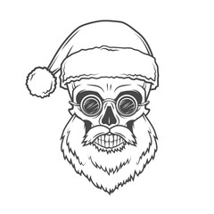 Bearded Skull Santa Claus with glasses poster. Heavy Christmas old man portrait. X-mas t-shirt illustration