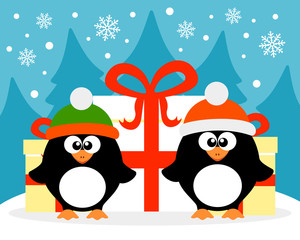 Happy New Year card with penguin  santa claus and  penguin elf