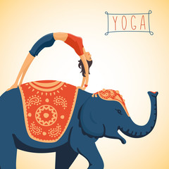 Young woman doing yoga standing on the back of an elephant. Flat style illustration