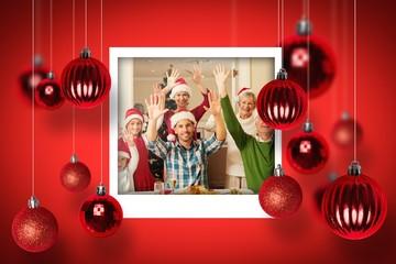 Happy family in santa hat