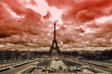 Red sky over Paris /  Sepia  Eiffel tower from Trocadero, Paris . France