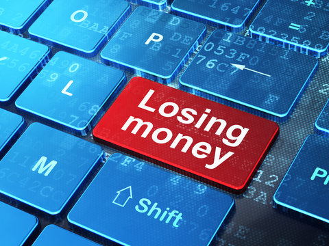 Banking concept: Losing Money on computer keyboard background