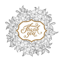 White Floral wreath vector illustration with Thank You lettering