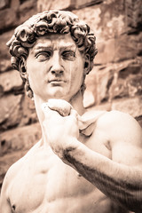 Michelangelo's David Portrait, Replica Statue in Florence Italy