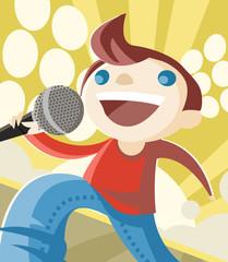 cantante con micrófono en el escenario