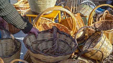 Handmade baskets. The baskets are seen here on display at a street market of Puglia
