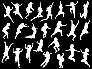 twenty four jumping girl silhouettes collection on black