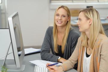 zwei junge frauen arbeiten zusammen am computer