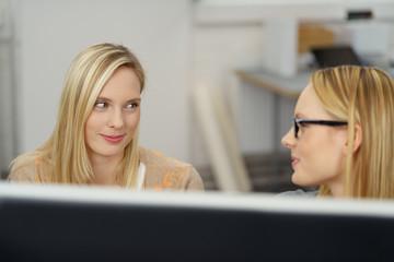 zwei junge frauen arbeiten zusammen am pc