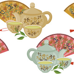 Repeating pattern with teapot, cups and oriental fans.